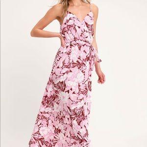 NWT Lulus Sunrise in Paradise Tropical Maxi Dress